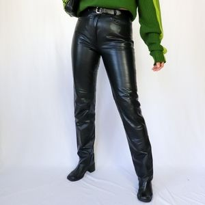 Black high waisted genuine leather pants by Danier